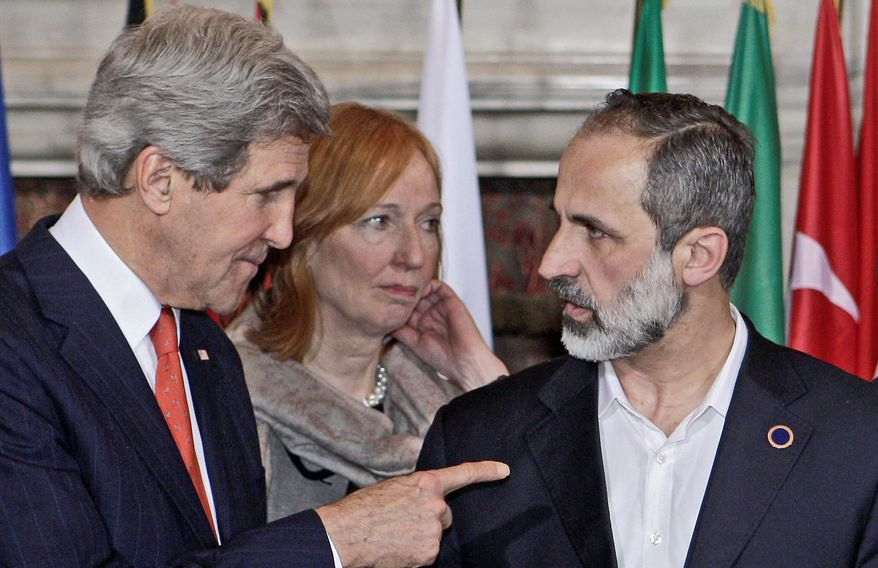 associated press Secretary of State John F. Kerry, speaking with Syrian opposition coalition leader Mouaz al-Khatib at a conference Thursday in Rome, says the U.S. is looking for more tangible ways to support the Syrian rebels and bolster a fledgling political movement.