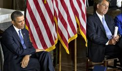 **FILE** President Obama and House Speaker John Boehner, Ohio Republican, sit during a ceremony to dedicate a statue of civil rights icon Rosa Parks on Feb. 27, 2013, in the Capitol's Statuary Hall. (Associated Press)