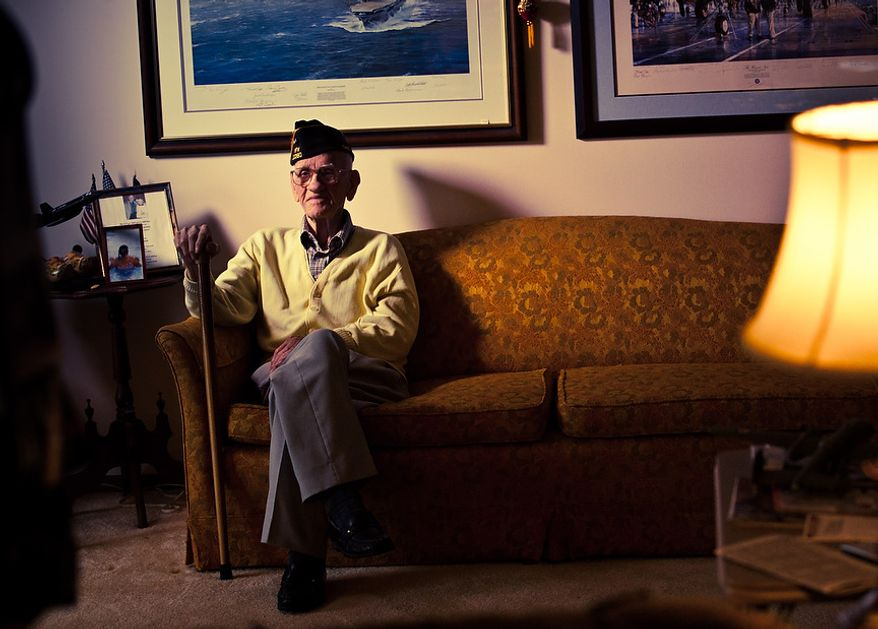 ** FILE ** Maj. USAF (Ret.) Thomas Griffin, 95, navigator of Crew 9 during the Doolittle Tokyo Raid, poses for a picture at his home, in Cincinnati, Ohio, Thursday, Feb, 9, 2012. (Andrew S. Geraci/The Washington Times)