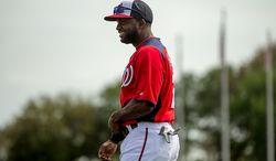 Washington Nationals center fielder Denard Span (2) warms up before the Washington Nationals play the Florida Marlins during spring training at Space Coast Stadium, Viera, Fla., Wednesday, February 27, 2013. (Andrew Harnik/The Washington Times)