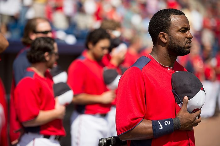 Washington Nationals center fielder Denard Span (2) stands as the star spangled banner is played before the Washington Nationals play the Florida Marlins during spring training at Space Coast Stadium, Viera, Fla., Wednesday, February 27, 2013. (Andrew Harnik/The Washington Times)