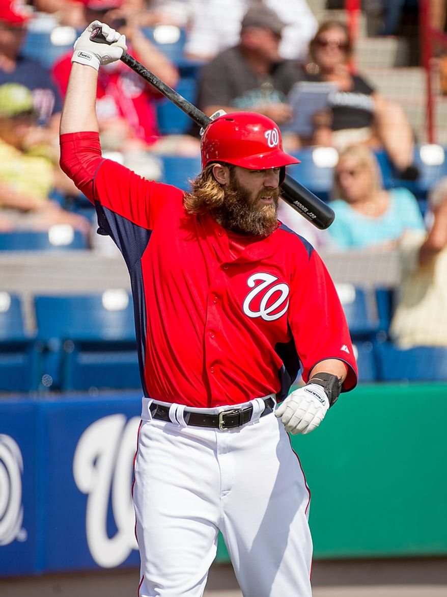 Washington Nationals right fielder Jayson Werth (28) warms up before batting as the Washington Nationals play the Florida Marlins during spring training at Space Coast Stadium, Viera, Fla., Wednesday, February 27, 2013. (Andrew Harnik/The Washington Times)