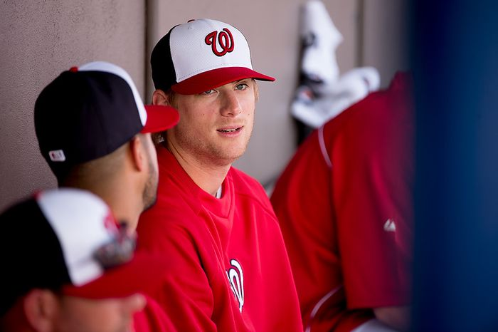 Washington Nationals starting pitcher Ross Detwiler (48) in the dugout as the Washington Nationals play the Florida Marlins during spring training at Space Coast Stadium, Viera, Fla., Wednesday, February 27, 2013. (Andrew Harnik/The Washington Times)