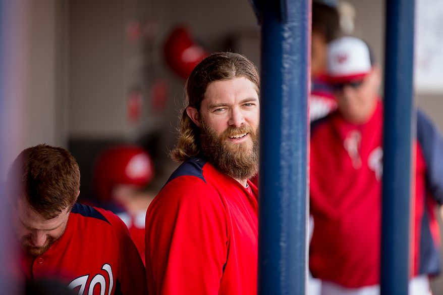 Washington Nationals right fielder Jayson Werth (28) smiles in the dugout as the Washington Nationals play the Florida Marlins during spring training at Space Coast Stadium, Viera, Fla., Wednesday, February 27, 2013. (Andrew Harnik/The Washington Times)
