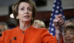 ** FILE ** House Minority Leader Nancy Pelosi, California Democrat, holds a  Jan. 23, 2013, news conference on Capitol Hill in Washington to discuss the reintroduction of the Violence Against Women Act. (Associated Press)