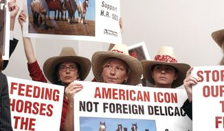 **FILE** Demonstrators carry signs during a rally on Capitol Hill in Washington on Sept. 5, 2006, in support of a bill to ban horse slaughter for human consumption. (Associated Press)