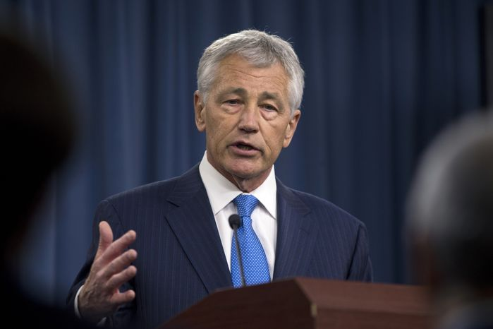 ** FILE ** New Defense Secretary Chuck Hagel speaks March 1, 2013, at a news conference at the Pentagon. (Associated Press)