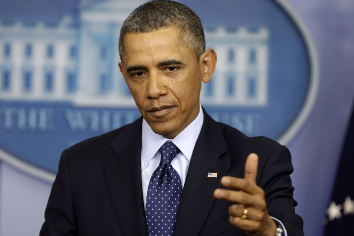 President Obama speaks to reporters in the White House briefing room in Washington on March 1, 2013, following after meeting with congressional leaders regarding the automatic spending cuts. (Associated Press)