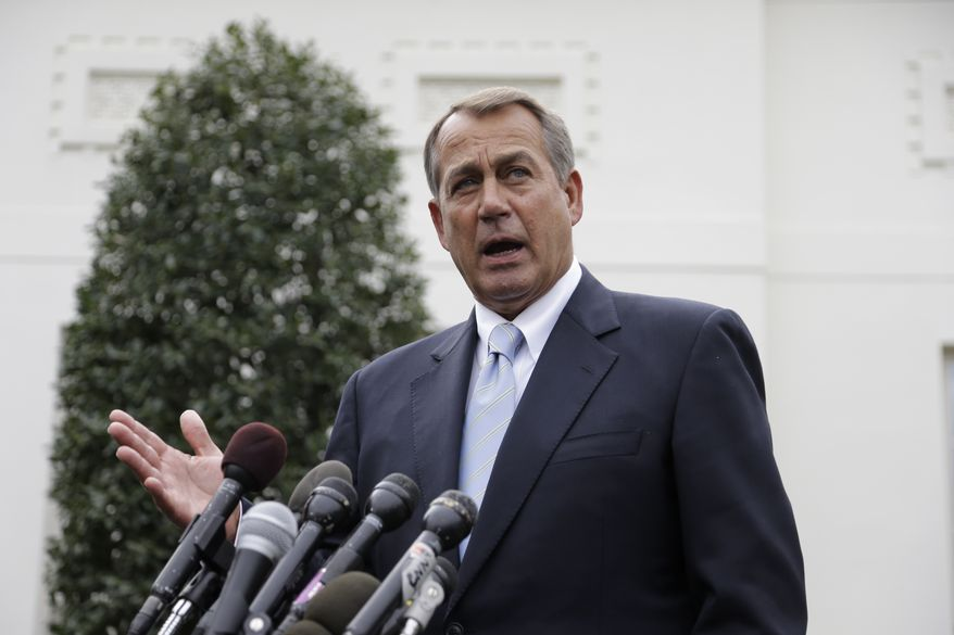 House Speaker John Boehner, Ohio Republican, speaks to reporters outside the White House on March 1, 2013, following a meeting with President Obama and Congressional leaders regarding the automatic spending cuts. (Associated Press)