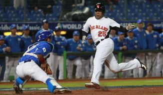 The Netherlands' designated hitter Andruw Jones (25) tries to dodge Korea's catcher Kang Minho (47) home plate in the fourth inning of their World Baseball Classic first round game at the Intercontinental Baseball Stadium in Taichung, Taiwan, Saturday, March 2, 2013. The Netherlands won 5-0. (AP Photo/Wally Santana)