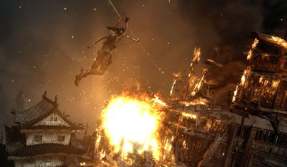 Just one of the many explosive, blockbuster moments in the video game Tomb Raider.