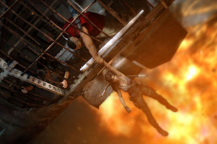 Lara Croft occasionally gets help from friends in the video game Tomb Raider.