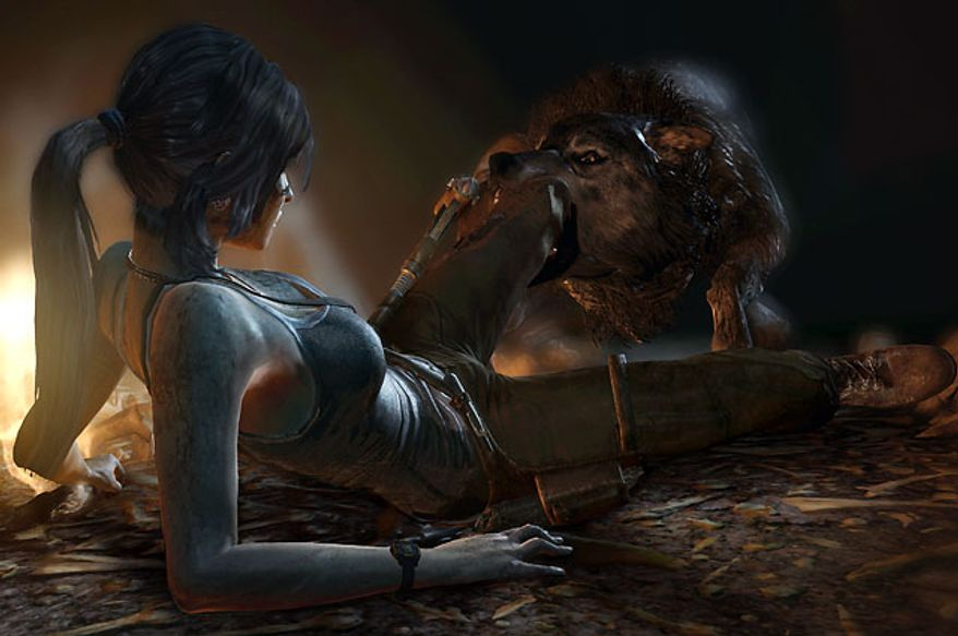 Lara Croft has trouble with a wolf in the video game Tomb Raider.