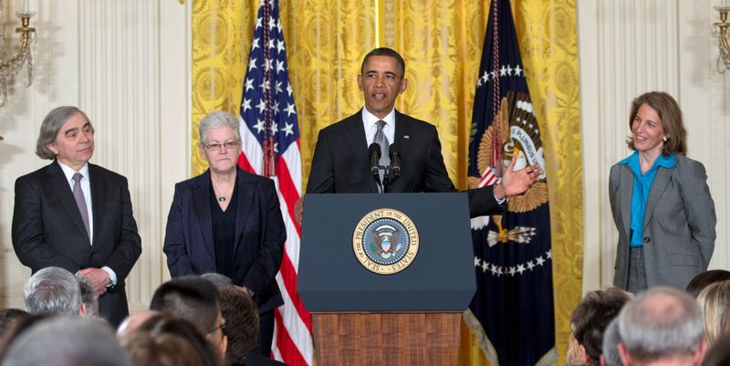 President Obama announces his choices (from left) of MIT physics professor Ernest Moniz for energy secretary, Gina McCarthy to head the Environmental Protection Agency, and Wal-Mart Foundation President Sylvia Mathews Burwell to head the Office of Management and Budget during a ceremony Monday in the East Room of the White House. (Associated Press)