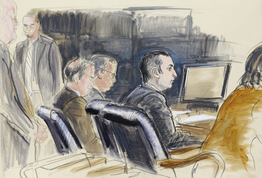 ** FILE ** In this Feb. 25, 2013, courtroom sketch, former New York City Police Officer Gilberto Valle, second right, is seated at federal court in New York. (AP Photo/Elizabeth Williams, File)