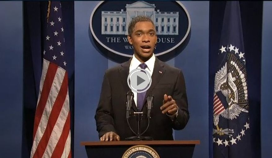 "** FILE ** Actor Jay Pharoah impersonates President Obama on NBC's ""Saturday Night Live"" on Saturday, March 2, 2013. (Associated Press)"