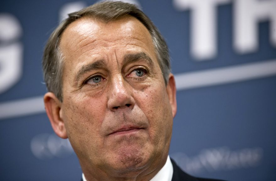 ** FILE ** House Speaker John A. Boehner, Ohio Republican, listens on Tuesday, March 5, 2013, during a news conference on Capitol Hill following a Republican strategy session. (Associated Press)