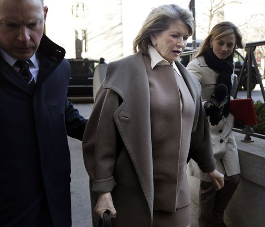Martha Stewart arrives at court in New York on Tuesday, March 5, 2013, to testify in a suit filed by Macy's Inc. against Martha Stewart Living Omnimedia Inc. for breaching an exclusive contract when MSLO signed a deal with J.C. Penney Co. (AP Photo/Seth Wenig)