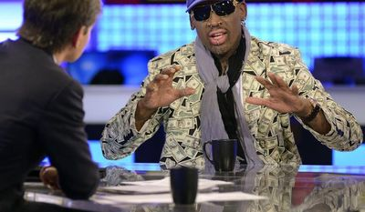 "In this photo made available by ABC Television on March 4, 2013, ""This Week"" host George Stephanopoulos (left) interviews former NBA star Dennis Rodman in New York on March 3, 2013, about his visit with North Korean leader Kim Jong Un. (Associated Press/ABC Television)"