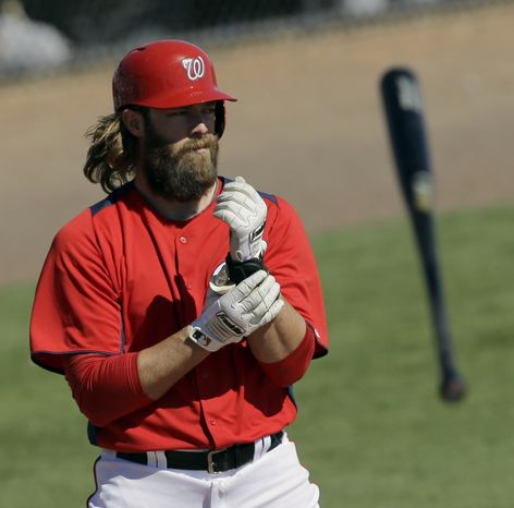 Washington Nationals' Jayson Werth tosses his bat after striking out against the Houston Astros during the fifth inning of an exhibition spring training baseball game Tuesday, March 5, 2013, in Viera, Fla. (AP Photo/David J. Phillip)