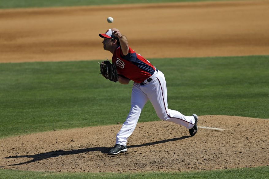 Washington Nationals pitcher Zach Duke throws against the Houston Astros during the fourth inning of an exhibition spring training baseball game Tuesday, March 5, 2013, in Viera, Fla. (AP Photo/David J. Phillip)
