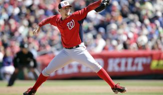 Washington Nationals' Stephen Strasburg pitches during the second inning of a spring training exhibition baseball game against the Philadelphia Phillies, Wednesday, March 6, 2013, in Clearwater, Fla. (AP Photo/Matt Slocum)
