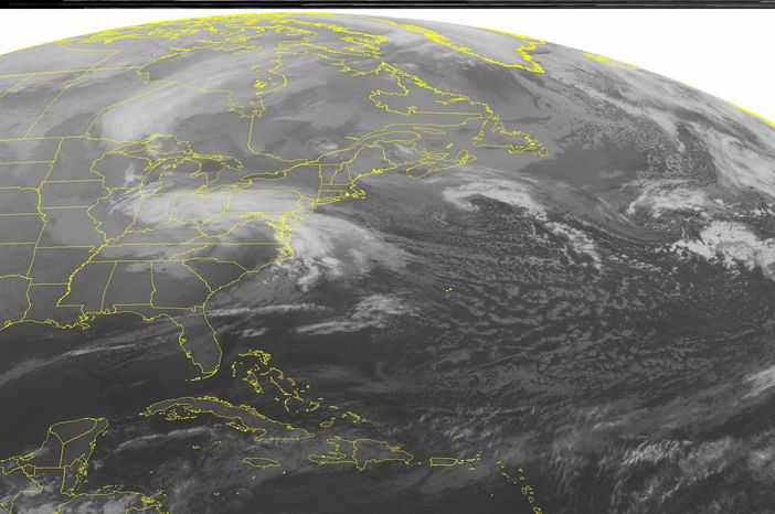 This NOAA satellite image taken Wednesday, March 6, 2013, at 1:45 a.m. EST shows a low pressure system over the central Appalachian Mountains moving into the Mid-Atlantic and Northeast with areas of snow and coastal rain. Fair weather is seen across the southeastern United States. (AP PHOTO/WEATHER UNDERGROUND)