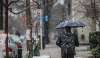An Old Town resident travels down the street, using his umbrella to shield him from the snow in Alexandria, VA., Wednesday, March 6, 2013. (Andrew S. Geraci/The Washington Times)