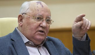 Former Soviet leader Mikhail Gorbachev speaks at a news conference in Moscow on April 17, 2012. (Associated Press) ** FILE **