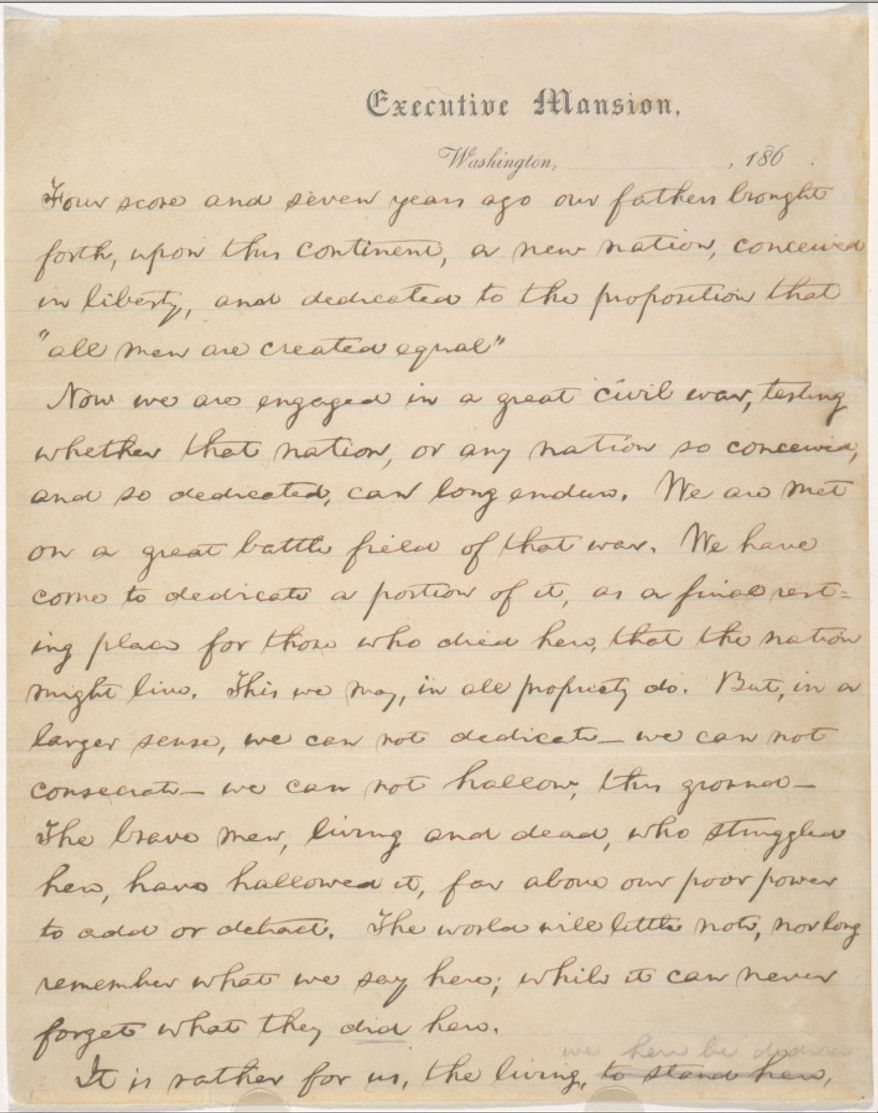 A rare, hand copied draft of the Abraham Lincoln's Gettysburg Address will go on public view for six weeks at the Library of Congress. (Image from Library of Congress)