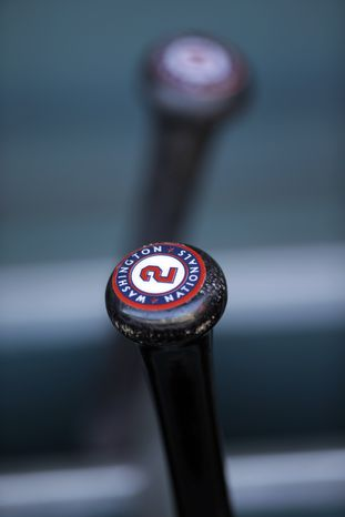 A Washington National's bat is shown before a spring training exhibition baseball game against the Philadelphia Phillies, Wednesday, March 6, 2013, in Clearwater, Fl