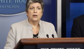 **FILE** Homeland Security Secretary Janet Napolitano briefs reporters at the White House on Feb. 25, 2013. (Associated Press)