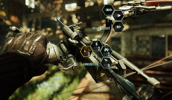 A player can configure his bow for maximum impact in first person shooter Crysis 3.