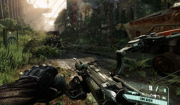 Fight in a New York jungle with a powerful bow in the video game Crysis 3.