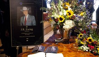 "Funeral scene for the character J.R. Ewing, played by Larry Hagman, in an episode of ""Dallas,"" airing Monday at 9 p.m. Hagman died of cancer at 81 the day after Thanksgiving. (AP Photo/TNT, Skip Bolen)"