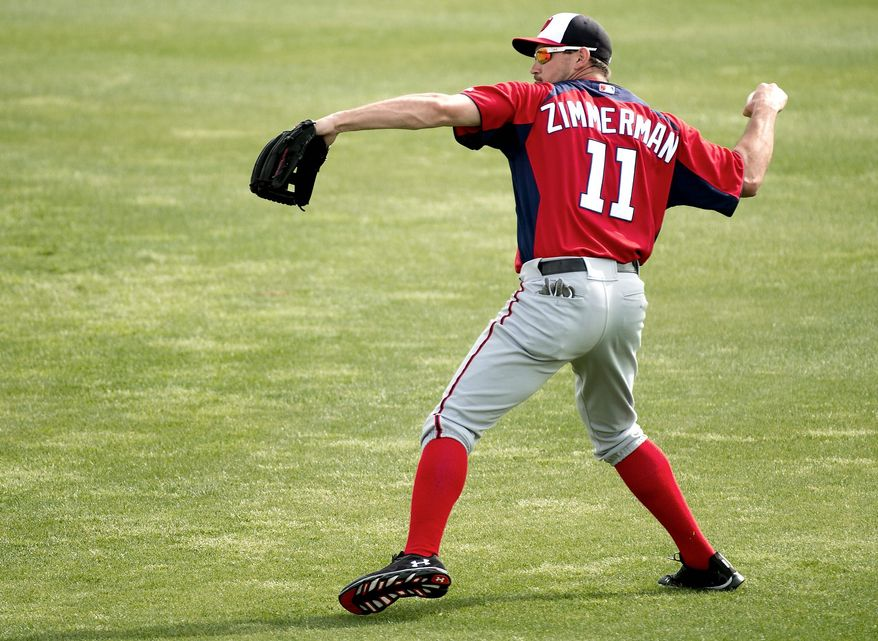 A shoulder injury prompted Nationals third baseman Ryan Zimmerman to take four cortisone shots to get through last season and undergo offseason surgery. (Andrew Harnik/The Washington Times)