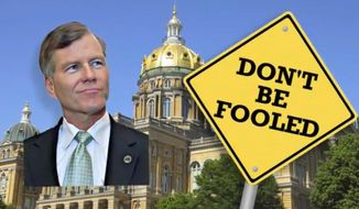 An Iowa TV ad rips Virginia Gov. Bob McDonnell for brokering a transportation deal that includes tax increases. Mr. McDonnell is a possible presidential candidate.