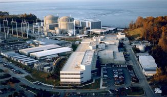 **FILE** In this undated handout photo made available by the United States Nuclear Regulatory Commission, the Calvert Cliffs Nuclear Power Plant, Unit 1, is seen in Lusby, Md. (Associated Press/USNC)
