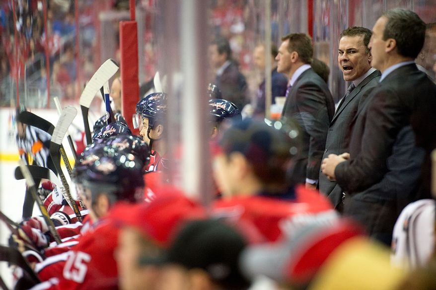 Washington Capitals head coach Adam Oates yells on the bench in the second period as the Washington Capitals play the New York Rangers at the Verizon Center, Washington, D.C., Sunday, March 10, 2013. (Andrew Harnik/The Washington Times)