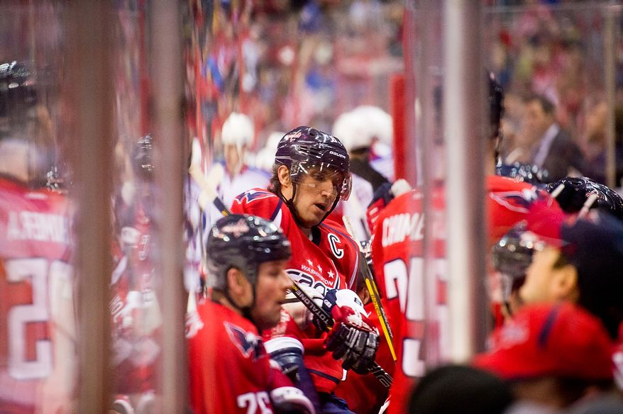 Washington Capitals left wing Alex Ovechkin (8) returns to the bench in the second period as the Washington Capitals play the New York Rangers at the Verizon Center, Washington, D.C., Sunday, March 10, 2013. (Andrew Harnik/The Washington Times)