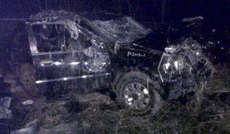 A Honda Passport that crashed into a guardrail and flipped over into a swampy pond on the morning of March 10, 2013, in Warren, Ohio. Highway Patrol officials say speed was a factor in the violent early morning crash that killed six teenagers. (Associated Press)