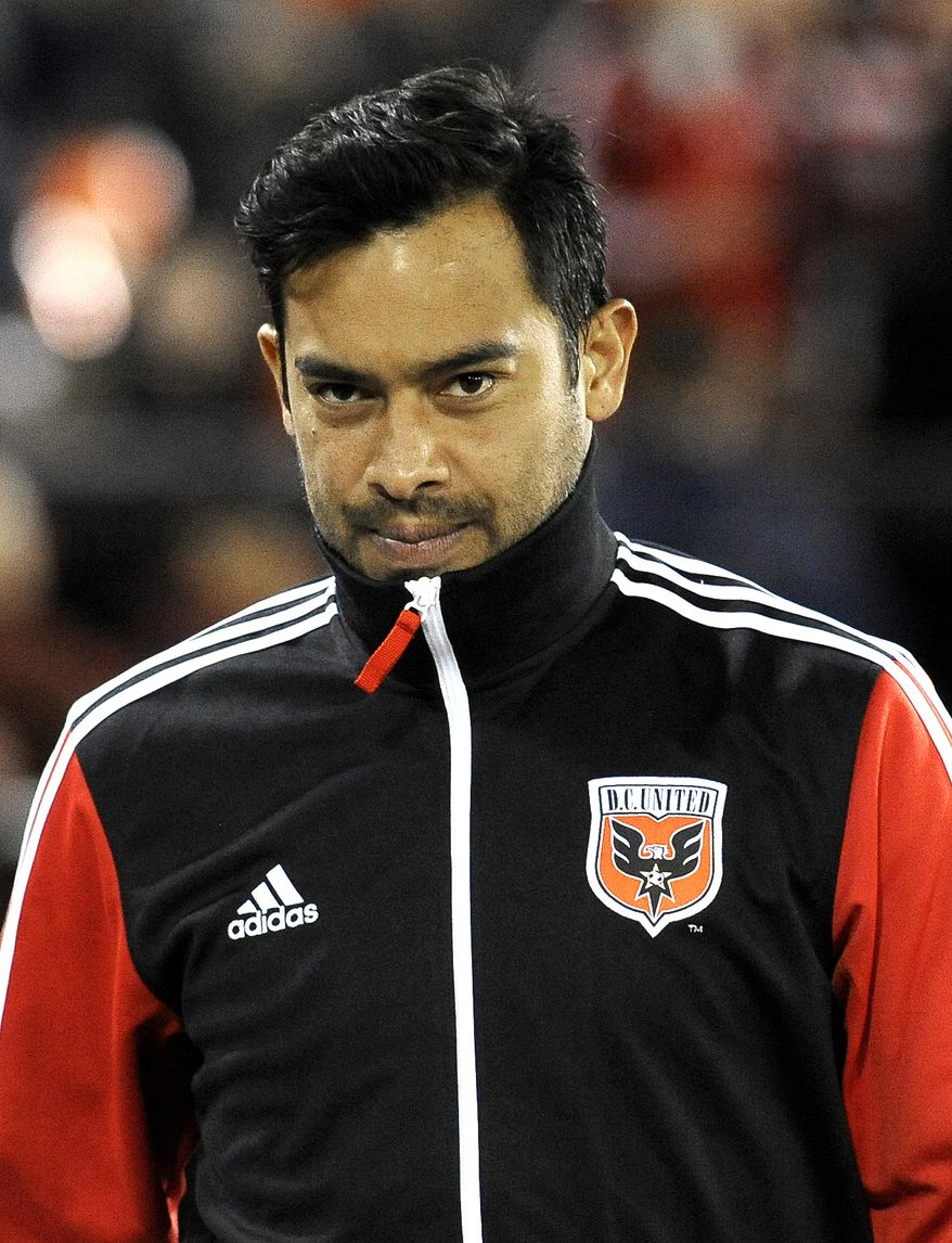 DC United forward Carlos Ruiz prior to the start of their MLS soccer game against Real Salt Lake, Saturday, March 9, 2013, in Washington. DC United defeated Real Salt Lake 1-0. (AP Photo/Richard Lipski)