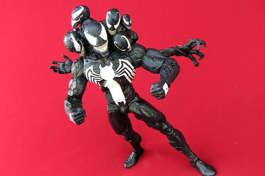 A full view of Diamond Select Toys' Venom with interchangeable fists. (Photograph by Joseph Szadkowski / The Washington Times)
