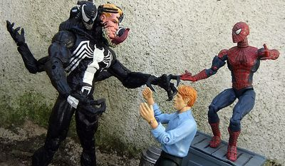 Norman Osborn tries to calm down Diamond Select Toys' Venom while Spider-Man looks on. (Photograph by Joseph Szadkowski / The Washington Times)