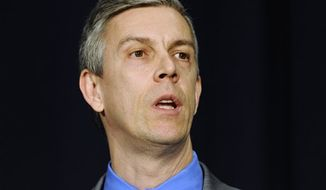 ** File ** U.S. Secretary of Education Arne Duncan speaks at a gun violence conference in Danbury, Conn., Thursday, Feb. 21, 2013. (AP Photo/Jessica Hill)