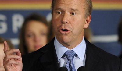 **FILE** Maryland Democratic Rep. John Delaney speaks Nov. 6, 2012, at an election night victory party in Potomac, Md., after defeating 10-term incumbent Roscoe Bartlett. (Associated Press)
