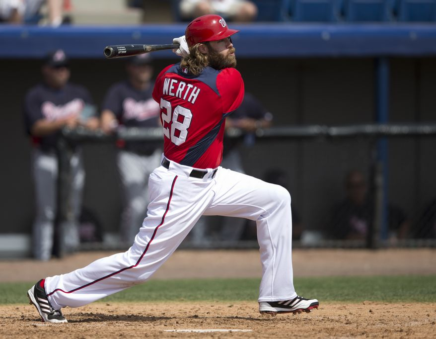Washington Nationals' Jayson Werth in action during the sixth inning of an exhibition spring training baseball game against the Atlanta Braves on Monday, March 11, 2013, in Viera, Fla. (AP Photo/Evan Vucci)