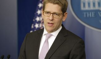 White House spokesman Jay Carney speaks March 12, 2013, during his daily news briefing at the White House in Washington. (Associated Press)