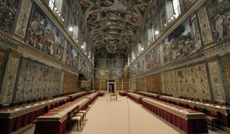 The Sistine Chapel has been prepared for the conclave to elect the next Roman pontiff. (AP Photo/L'Osservatore Romano)