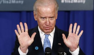 ** FILE ** Vice President Joseph R. Biden gestures as he speaks March 13, 2013, at the Montgomery County Executive Office Building in Rockville, Md. (AP Photo/Charles Dharapak)